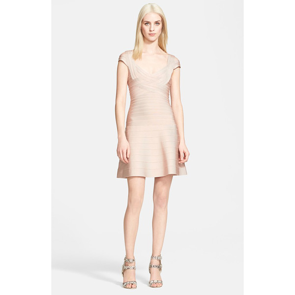 HERVE LEGER fit & flare bandage dress - A stretchy, dense-knit paneled construction lifts and...