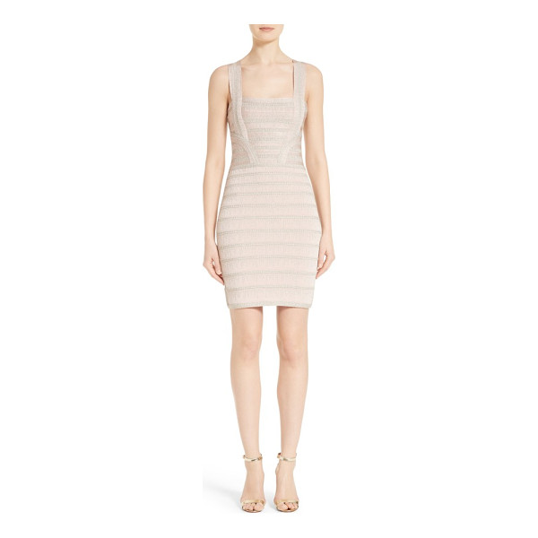 HERVE LEGER foil knit bandage dress - Icicles of silver thread sparkle like intricate beadwork...