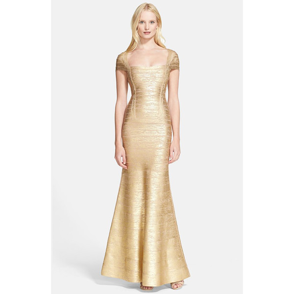 HERVE LEGER foiled flared bandage gown - Resplendent gold foil illuminates a showstopping trumpet...