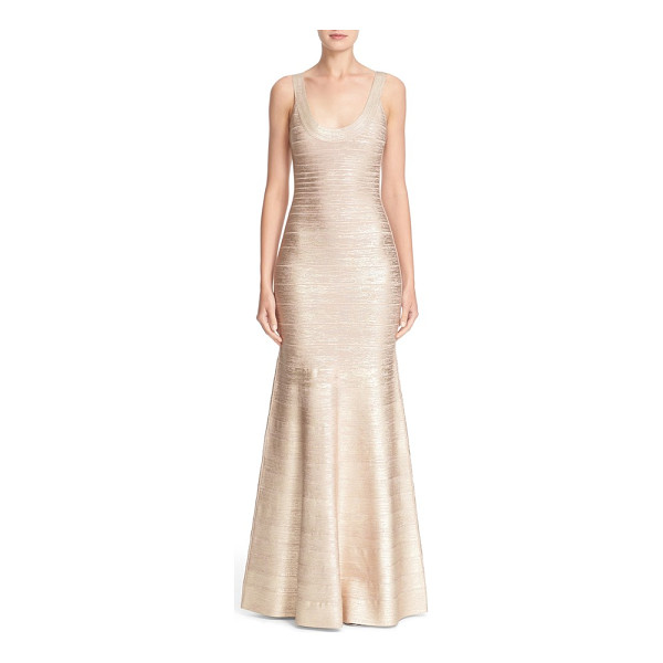 HERVE LEGER foiled mermaid bandage gown - Stretchy, curve-highlighting panels are pieced together...