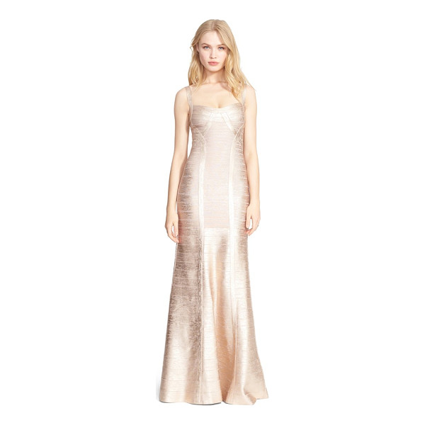 HERVE LEGER foiled mermaid bandage gown - Stretchy, curve-highlighting panels are pieced together to...