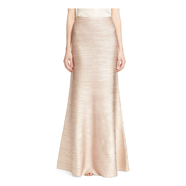 HERVE LEGER 'juliena' woodgrain metallic foil skirt - Resplendent rose-gold foil illuminates a showstopping