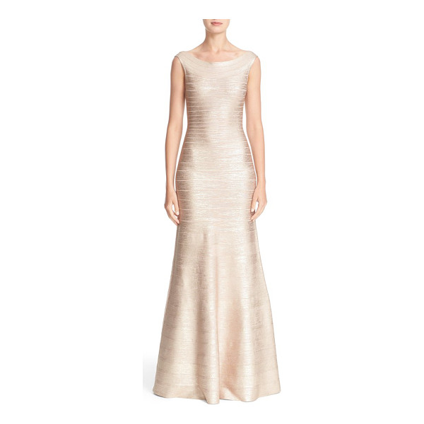HERVE LEGER metallic knit bateau neck gown - Herve Leger reimagines the iconic bandage dress with a...