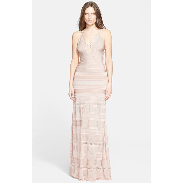 HERVE LEGER mixed stitch bandage gown - Crisscrossed straps bar the plunging notched neckline of a...