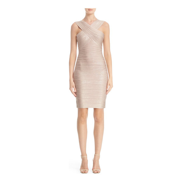 HERVE LEGER 'stella' crisscross front woodgrain metallic foil bandage dress - A crossover bodice shows off shoulders in a body-con dress...