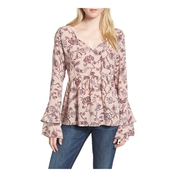 HINGE bell sleeve top - Bring the romance in this beautifully draped blouse styled...