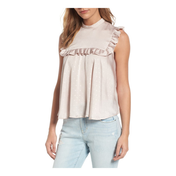 HINGE bib top - Trimmed with romantic ruffles, this soft-to-the-touch tank...