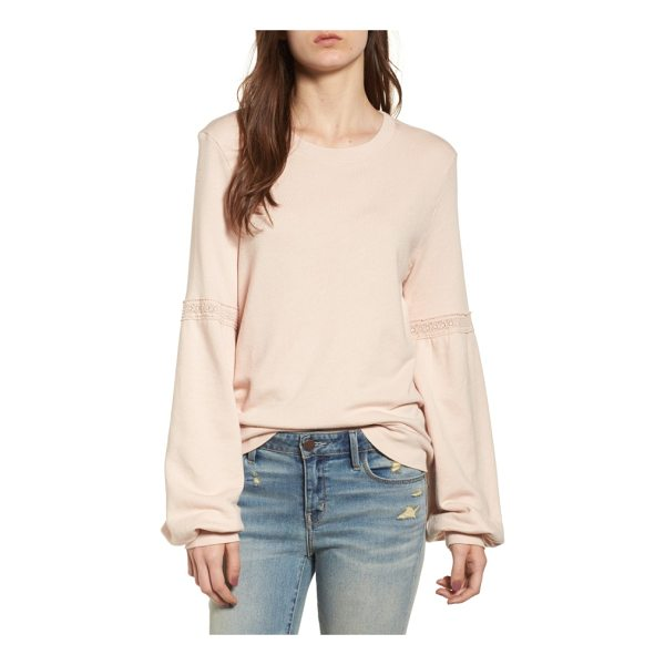 HINGE blouson sleeve sweatshirt - Dainty lace insets highlight the ample blouson sleeves of a...