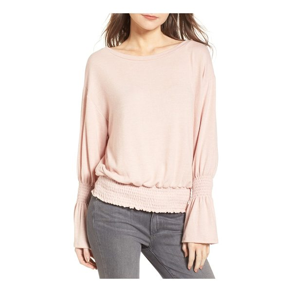 HINGE brushed smocked sweatshirt - As comfy as your favorite sweatshirt, this soft knit top...