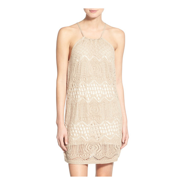 HINGE crochet halter dress - Beautifully crocheted patterns swirl atop this...