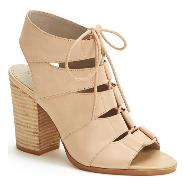 HINGE 'drea' peep toe leather sandal - Eye-catching cutouts intensify the contemporary flair of a