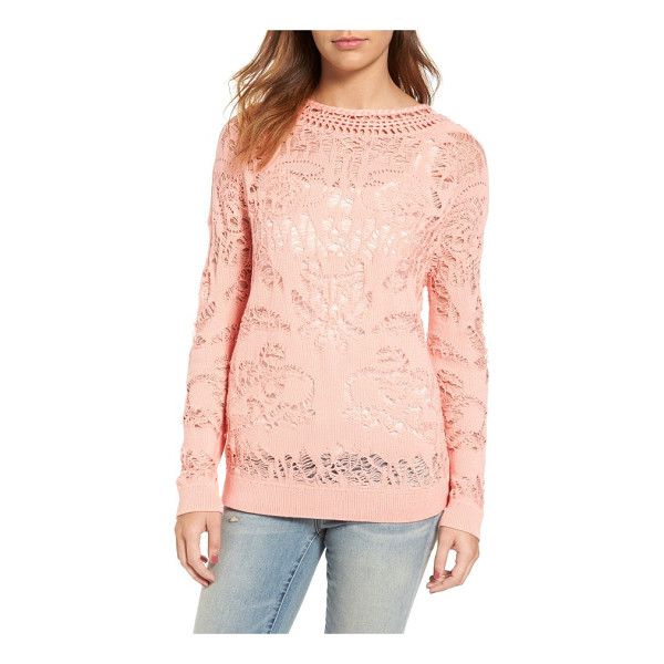 HINGE drop stitch cotton blend sweater - Punctuated with lace-like drop stitching and a distinctive...