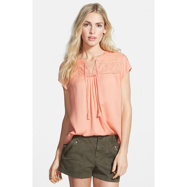 HINGE embroidered yoke top - Fringe-tipped tassels sway from the split neckline of a...