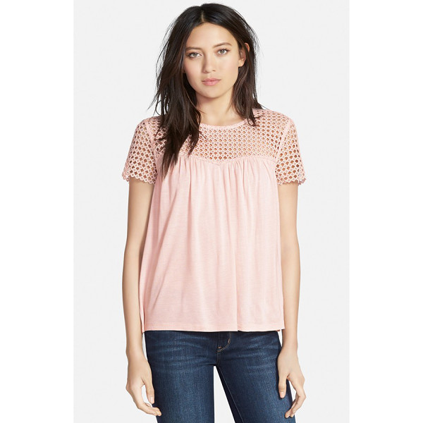 HINGE lace inset knit top - A flowy, figure-skimming knit top finds cool, casual style...