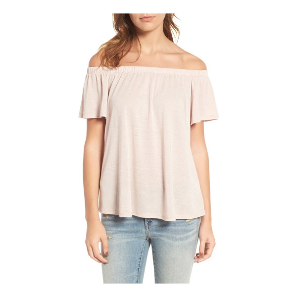 HINGE off the shoulder top - A shoulder-baring neckline adds instant vintage allure to a...
