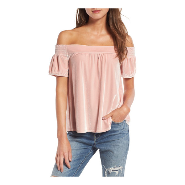 HINGE off the shoulder velvet top - Touchably soft velvet adds to the allure of this swingy,...