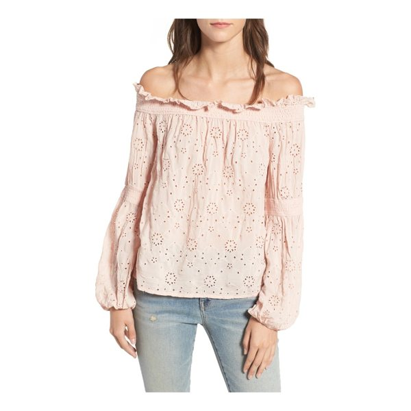 HINGE ruffle off the shoulder top - Ruffles along the neckline and pretty eyelets put a sweet...