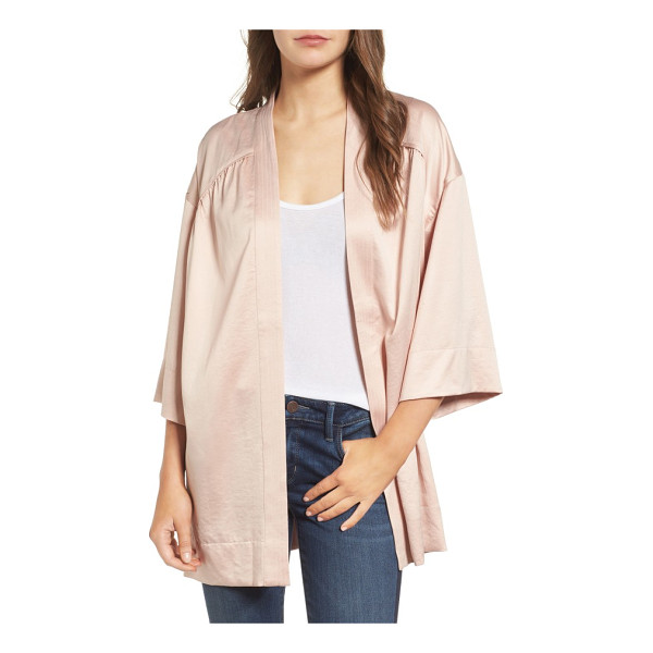 HINGE satin kimono jacket - Sleek and drapey, this lightweight satin kimono jacket is...