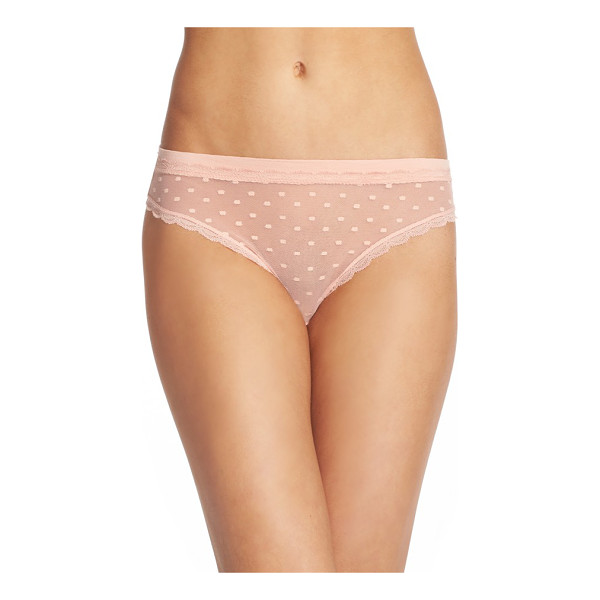 HONEYDEW INTIMATES 'maddie' swiss dot thong - Scalloped lace traces the edges of this low-rise thong...