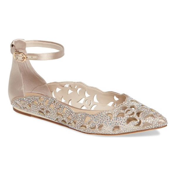 IMAGINE BY VINCE CAMUTO garyn ankle strap flat - Dainty cutouts, shimmering crystals and a scalloped,...