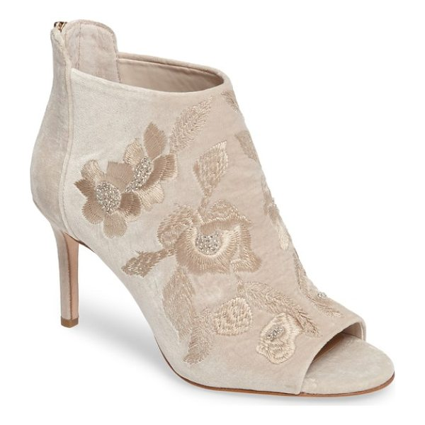 IMAGINE BY VINCE CAMUTO imagine vince camuto padget embroidered velvet peeptoe bootie - Delicate, beaded flower embroidery ornaments a pretty...