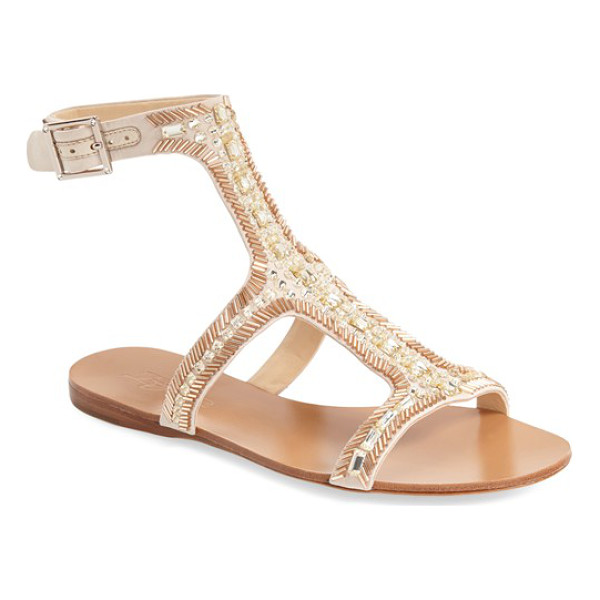 IMAGINE BY VINCE CAMUTO imagine vince camuto 'reid' embellished t-strap flat sandal - Sparkling crystal and bead embellishments catch the light...
