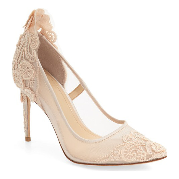 IMAGINE BY VINCE CAMUTO 'ophelia' pointy toe pump - Ornate lace detailing and three-dimensional floral...