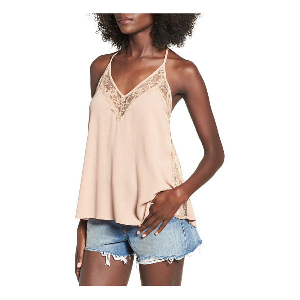 INTU lace trim woven camisole - Delicate lace frames the deep V-neckline and adds a flirty...