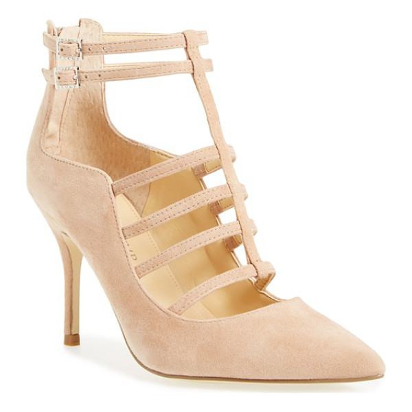 IVANKA TRUMP domin t-strap pump - Gleaming goldtone hardware illuminates the caged straps of...