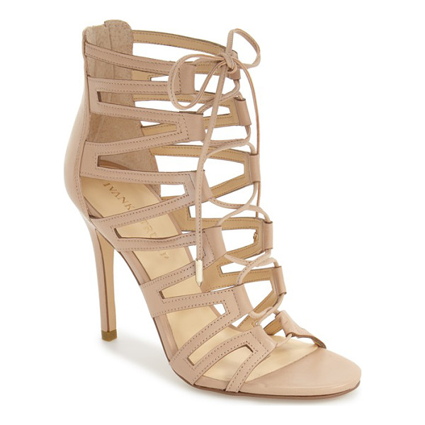 IVANKA TRUMP hallee ghillie lace cage sandal - Geometric cage straps interlocked with metal-tipped laces...