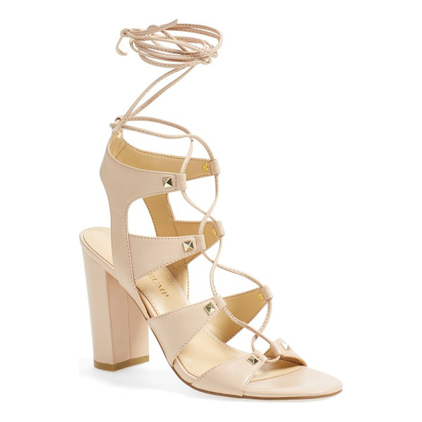 IVANKA TRUMP kavita ghillie sandal - Gleaming golden pyramid studs accent the cutout leather...