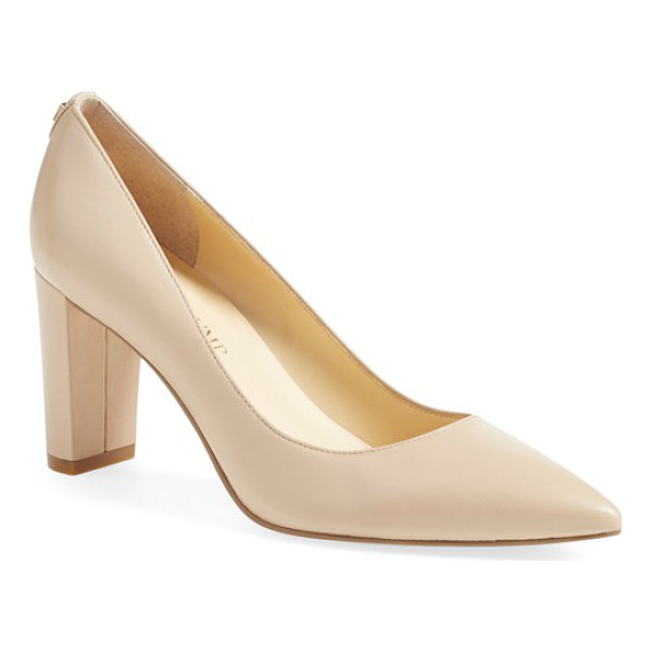 IVANKA TRUMP 'lysa' pointy toe pump - This wardrobe-staple pointy-toe pump is lifted by a chunky...