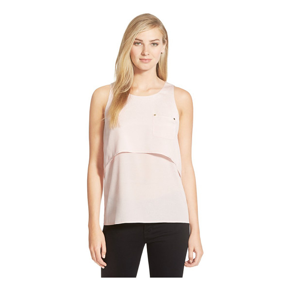 IVANKA TRUMP pocket detail tiered crepe tank - A classic scoop-neck shell in blushing crepe gets a fresh...