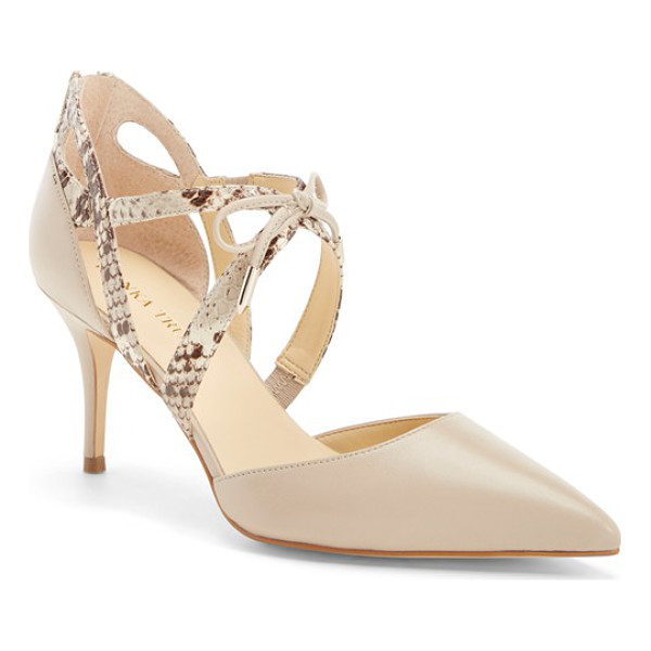 IVANKA TRUMP tenice pointy toe pump - Layered crossover straps with contrast texture and a demure...