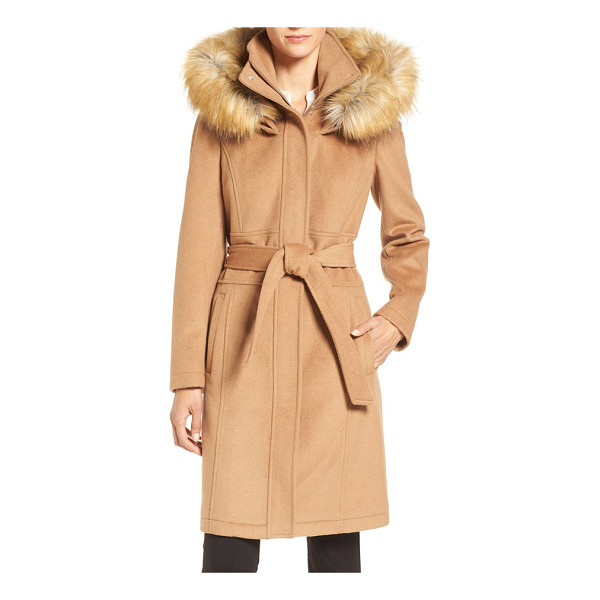 IVANKA TRUMP wool blend coat with removable faux fur trim hood - Softly structured and cinched with a sash belt, this woolen...