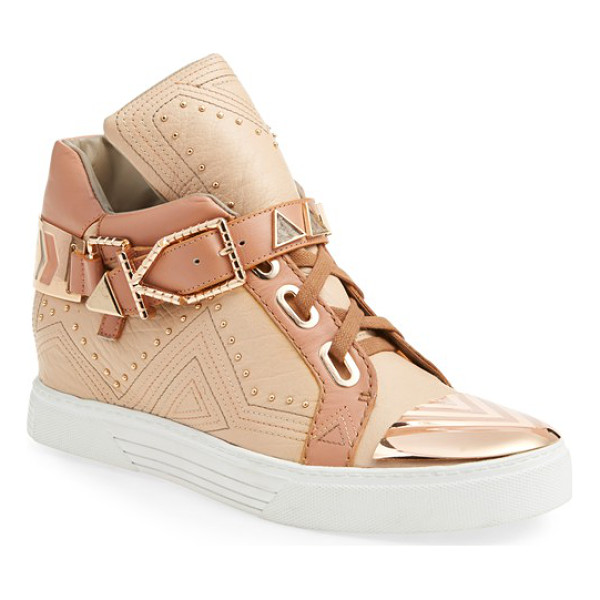 IVY KIRZHNER lunar hidden wedge sneaker - 18-karat gold plates the cap toe and etched hardware of a...