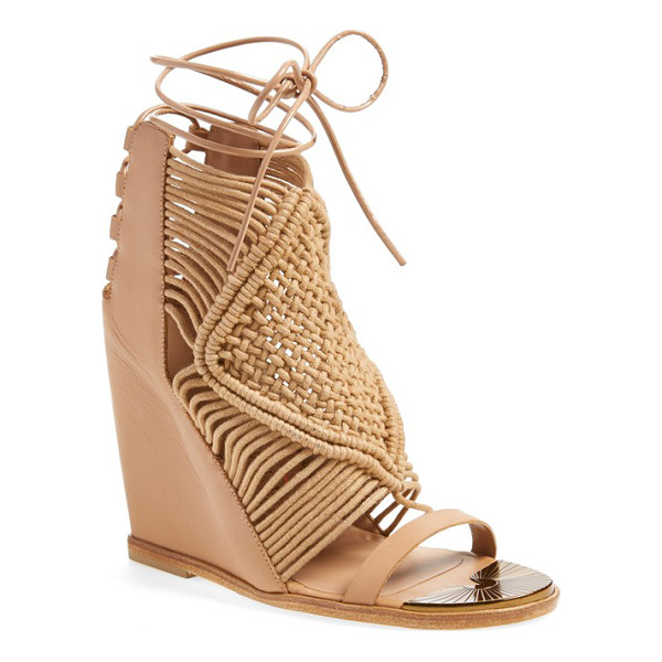 IVY KIRZHNER mykonos wedge sandal - Knotted macrame straps add an eye-catching rustic element...