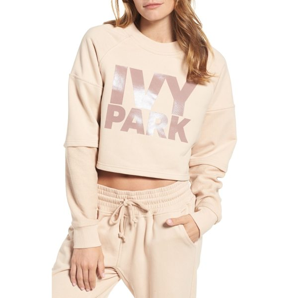 IVY PARK washed jersey cropped logo sweatshirt - Layered sleeves add an unexpected modern twist to a...