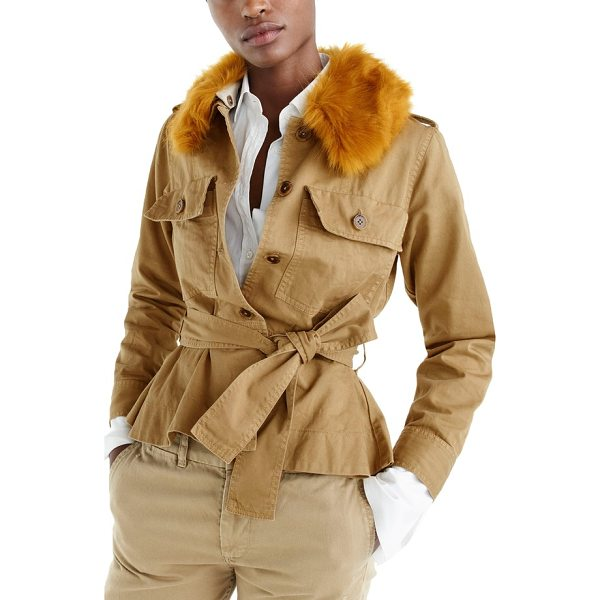 J.CREW j.crew peplum chino faux fur collar jacket - This chic chino jacket boasts the ease of your favorite...
