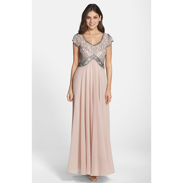 J KARA embellished chiffon fit & flare gown - Glinting sequins and glass beads stripe the comely...
