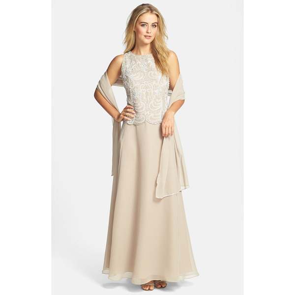 J KARA embellished chiffon a-line gown with shawl - Crystal-clear beads, faux pearls and satin embroidery bring...