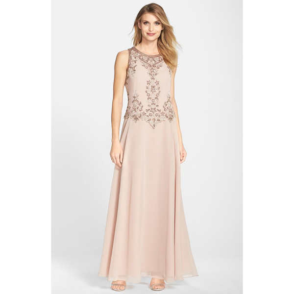 J KARA embellished two-piece a-line gown - Ornate beadwork scrolls around the bodice of an elegant...
