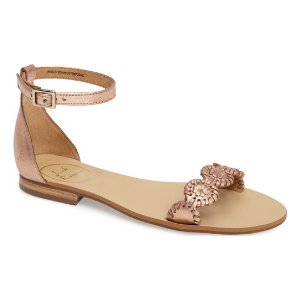 JACK ROGERS daphne medallion flat sandal - A chain of whipstitched leather medallions bridges the toe...