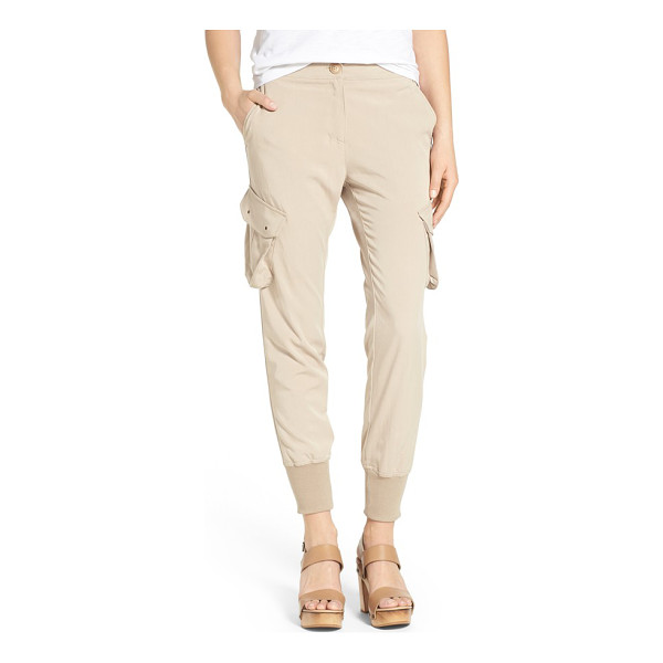 JAMES JEANS slouchy utility cargo pants - A smooth stretch-twill blend enhances the slouchy shape of...