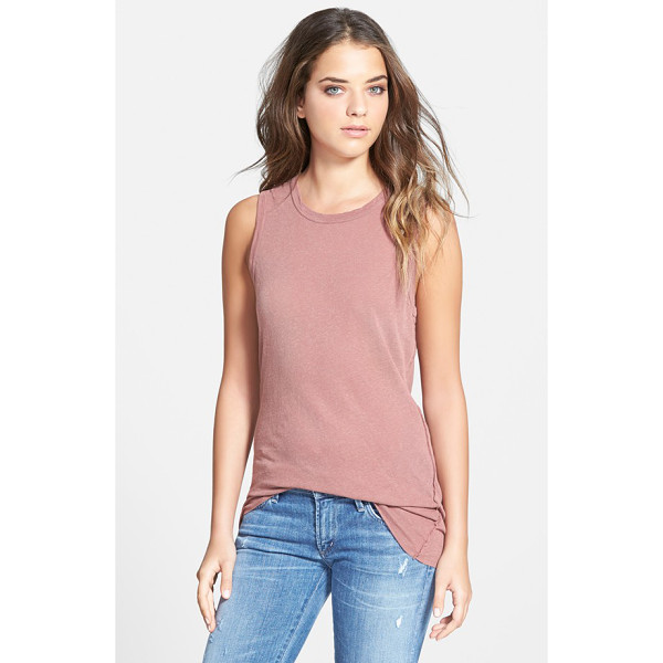 JAMES PERSE inside out long tank - A blend of linen and cotton jersey is slub-knit and dyed...