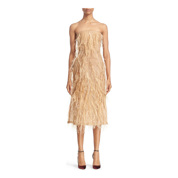 JASON WU ostrich feather trim strapless dress - Fashioned from airy silk organza and fluttering with wispy...