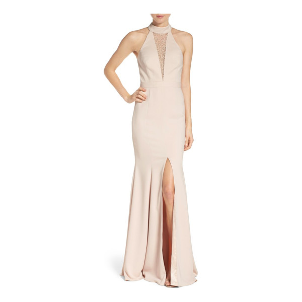 JAY GODFREY halter mermaid gown - Lacy netting obscures the plunging neckline of this...