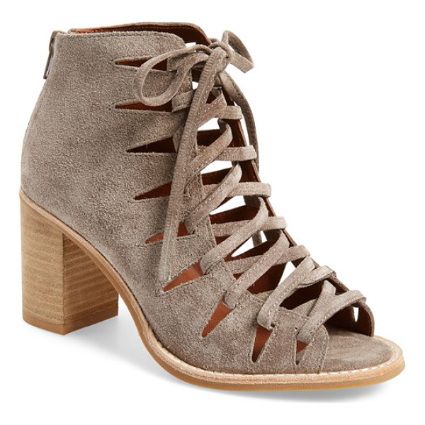 JEFFREY CAMPBELL 'corwin' open toe bootie - Crisscrossed laces bridge the open toe of a stylish suede