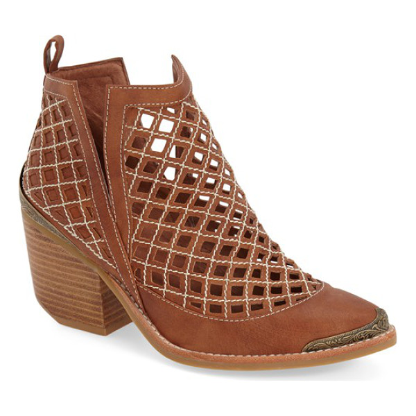 JEFFREY CAMPBELL cromwell cutout ankle bootie - Contrast stitching highlights the dramatic diamond cutouts...