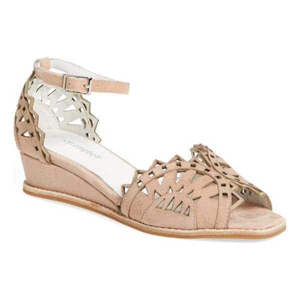 JEFFREY CAMPBELL foray ankle strap wedge - Pretty geometric perforations open up a chic d'Orsay wedge...